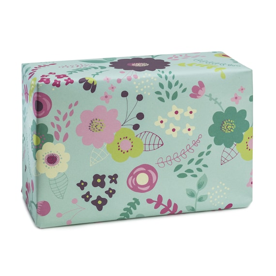 GREEN POND. Floral wrapping paper. Mint background. Pink and purple flowers. Spring mood. For her, for mom. Anniversary present