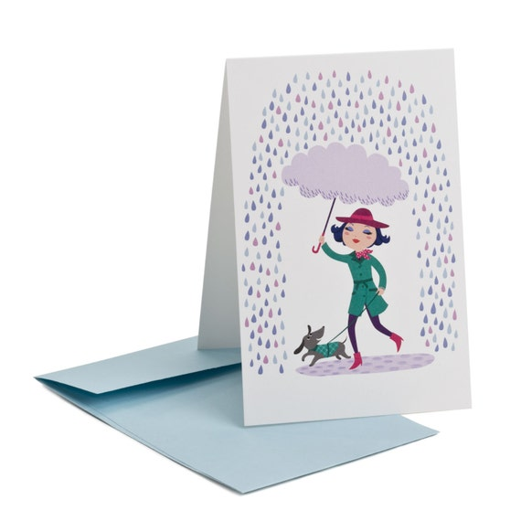 PARAPLUIE. Funny multipurpose card. Little girl with dog. Umbrella. Rainy day. Friendship notecard. For young girls, for little sister.