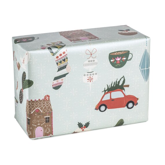 CHRISTMAS JOY Wrapping paper. Aqua background. Traditional folk pattern. Marzipan house and decorations pattern. Christmas vintage Fiat 500