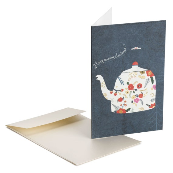 THE TEAPOT. Gold foil Christmas card. Steaming teapot. Mail Holiday wishes to friends, customers, clients, mother, nana