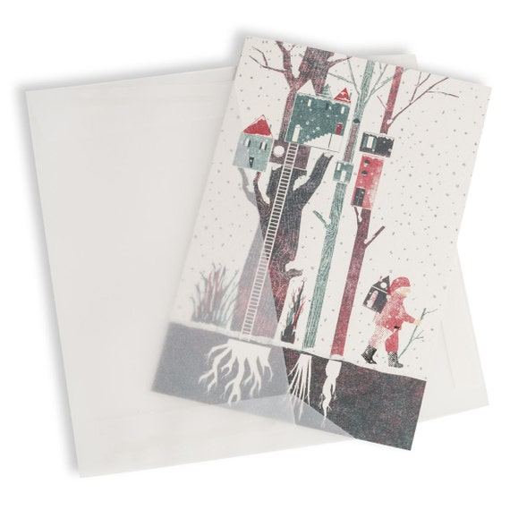 TREKKING SANTA. Winter holiday card. Walking Santa. Snowy forest. For wood walking lovers. Real estate agent customer gift