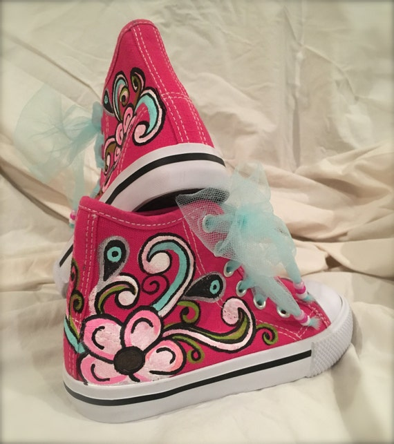 handmade  hand painted  painted shoes  girls shoes  size 9  cheerleader shoes  red shoes  cheer shoes  spirit shoes  multicolored
