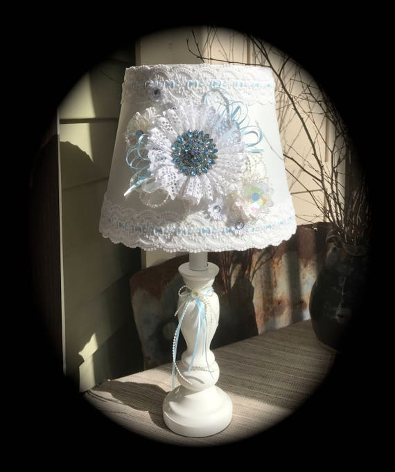 Handmade / Cottage Chic / Shabby Chic / Decorated Lamps / Table Lamps /  White / Light Blue / Bedside Lamp / Girls Room / Nursery