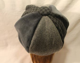 Beret hat, newsboy beret, velvet cap, dark gray hat, light gray tweed, plain and gray checkered.