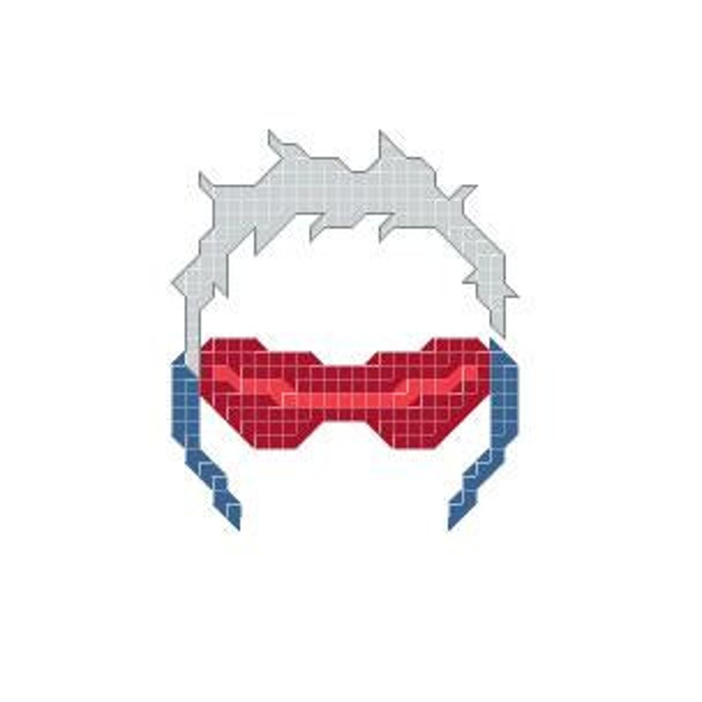 Overwatch Soldier76 ornament cross-stitch needlework pattern
