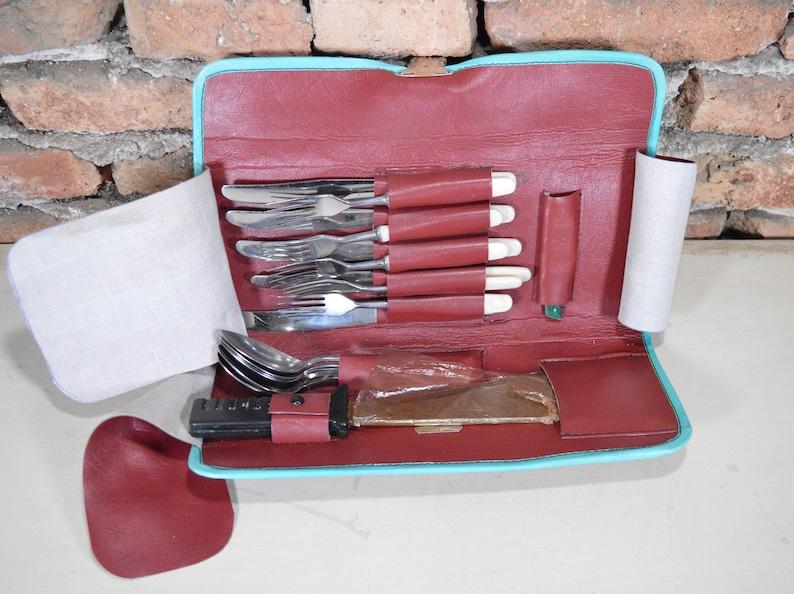 Hiking set Camping set Picnic set Vintage cutlery Stainless steel set Set for picnic Set in case Set cutlery Kitchen set