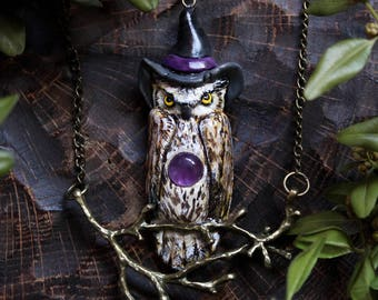 Owl Fantasy Necklace, Halloween Owl Polymer Clay Pendant, Wizard Owl Amethyst Necklace, Harry Potter Inspired, Mage Owl, Witch Owl
