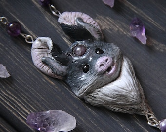 Bat Polymer Clay Necklace, Gothic Jewelry, Totem Animal Charm, Witch Jewelry, Bat Lovers Gift, Cute Bat Pendant