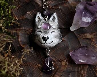 Grey Wolf Necklace Pendant, Amethystium Magic Pendant, Fantasy Wolf Jewelry, Shamanic Wolf Necklace, Wolf Totem Jewelry, Pagan Wolf