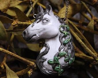 Kelpie Horse Necklace, Horse Spirit Charm, Irish Myths Jewelry, Horse Fairy, White Horse Pendant, Celtic Seahorse, Magic Creature