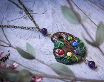 Artist Palette Necklace, Artist Gift Polymer Clay Palette, Palette Jewelry, Palette Charm, Fantasy Palette Charm, Forest Palette