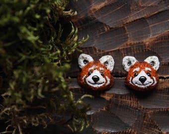 Red Panda Stud Earrings, Polymer Clay Red Panda Jewelry, Miniature Animal Earrings