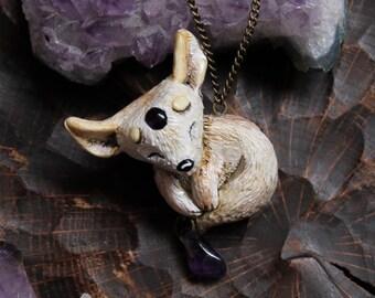 Fennec Fox Amethystium Necklace, Desert Fox Polymer Clay Cute Pendant, Fennec Fox Charm, Fennec Totem Charm