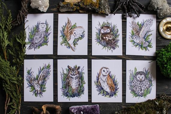 Owl Set of 8 Art Prints A6, Woodland Forest Habitants Postcards Set, Witchy Owl Art Print