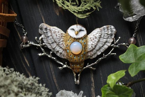 Barn Owl With Moonstone Necklace, Witch Owl Charm, Wicca Owl Necklace, Bird Jewelry, Magic Owl Pendant, Fantasy Owl Charm