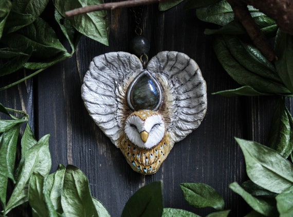 Owl Necklace with labradorite, Witch Owl Charm, Barn Owl Amulet, Owl Totem Necklace, Fairy Owl Jewelry