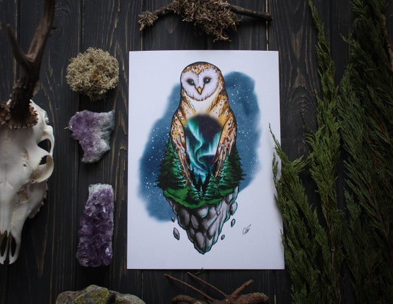Barn Owl Northern Lights Print, Aurora Borealis Art, Owl Totem Print Art, Witchcraft, Pagan Art, A4 Art Print