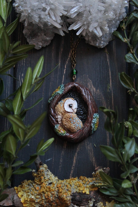 Barn Owl In a Hollow Necklace, Barn Owl Necklace, Witch Owl Charm, Wicca Owl Necklace, Bird Jewelry, Magic Owl Pendant, Fantasy Owl Charm