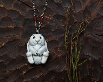 Cute White Bunny Necklace, Hare Polymer Clay Pendant, Bunny Necklace, Kawaii Bunny, Rabbit Necklace