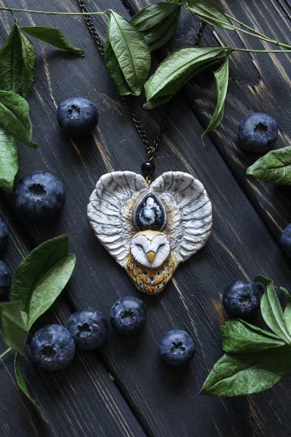 Owl Celestial Necklace, Witch Owl Charm, Barn Owl Amulet, Owl Totem Necklace, Fairy Owl Jewelry, Starry Owl Charm
