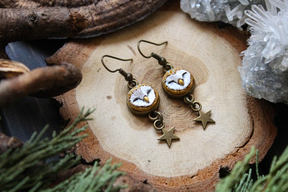 Owl Starry Earrings, Barn Owl Dangle and Drop Earrings, Bird Jewelry, Woodland Witchy Earrings