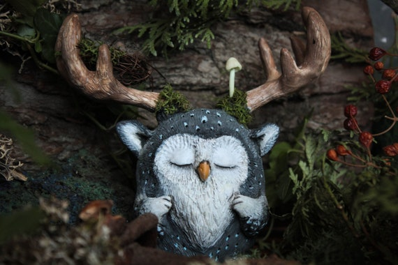 Owl Forest Spirit, Monster figurine, OOAK Fantasy Beast Sculpture, Magic Creature Doll, Fantastic Beast Figurine Fairy, Collectible Art Toy