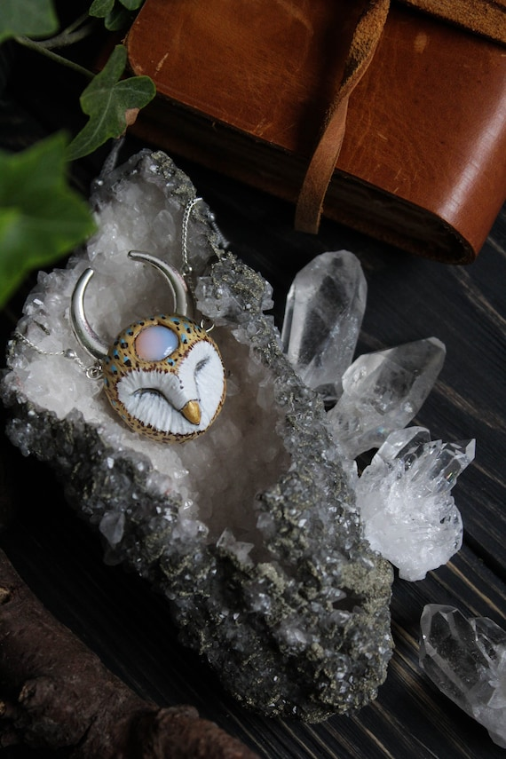 Barn Owl with Moonstone and Crescent Moon Necklace, Horned Owl Charm, Witch Owl Necklace, Fantasy Owl Totem Necklace, Magic Owl Pendant