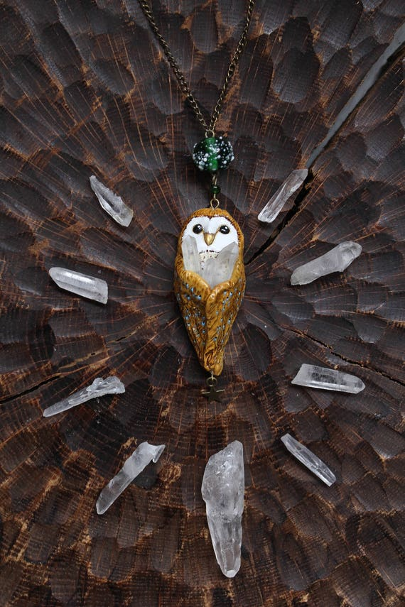 Barn Owl with Rhinestone Necklace, Bird Pendant, Barn Owl Charm, Fantasy Owl Jewelry, Polymer Clay Barn Owl Jewelry