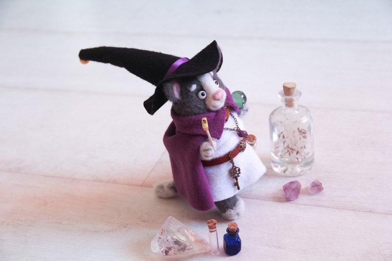 Wizard Cat Wool Figurine, Needle Felted Cat Sculpture, Fantasy Mage  Miniature, DnD Magician Cat