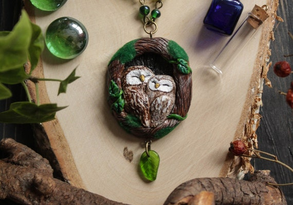 Owl Love Necklace, Ural Owl Charm, Woodland Bird Jewelry, Owls In Tree Moss Pendant, Witch Owl Forest Necklace, Totem Owl Charm