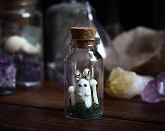 Forest Spirit In Glass Jar, Miniature Fantasy Creature In The Bottle, Cabinet of Curiosities Exhibit, Winged Woodland Creature, White Kodama