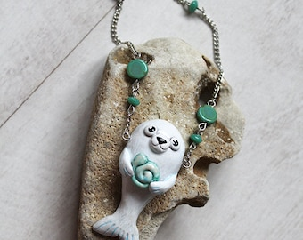 Song of the Sea Cute Necklace, Sea Jewellery, Polymerclay Pendant Selkie, White Seal, Kawaii Selkie Charm