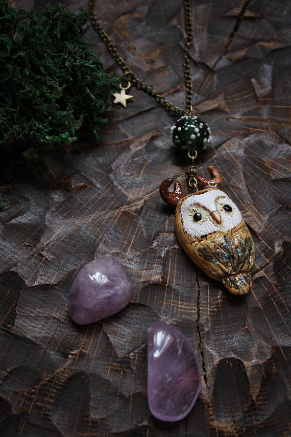 Owl Necklace, Barn Owl Pendant, Cute Owl Pendant, Pagan Owl Necklace, Witch Owl Charm, Totem Horned Owl Jewelry