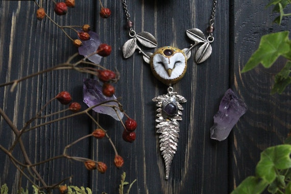 Barn Owl Celtic Amethyst Necklace, Witch Owl Charm, Witch Mystic Owl Necklace, Owl Totem Necklace, Wicca Owl Pendant, Forest Owl
