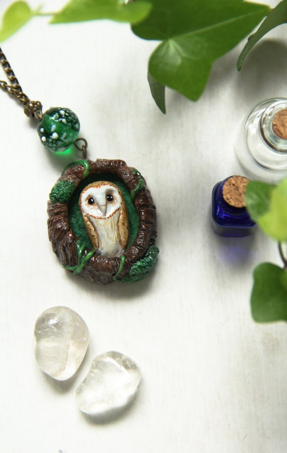 Owl Necklace, Barn Owl Polymer Clay Necklace, Miniature Owl Pendant, Woodland Necklace, Cute Owl Pendant, Owl Nest Charm, Totem Owl Charm