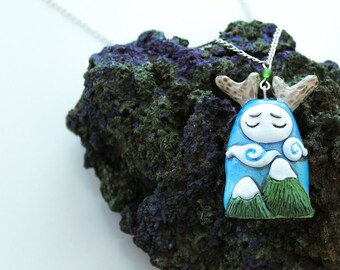 Mountain Spirit Fantasy Pendant, Polymer Clay Hand-painted Unique Blue Necklace, Tiny Creature Necklace