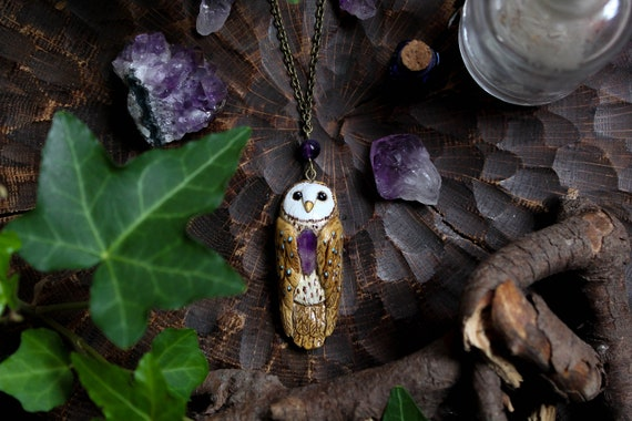 Barn Owl Pendant, Owl lovers gift, amethystium owl charm, owl amulet, totem necklace, witch jewelry