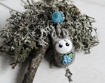 Grey Wolf Blueberry, Polymer Clay Necklace, Cute Kawaii Jewellery