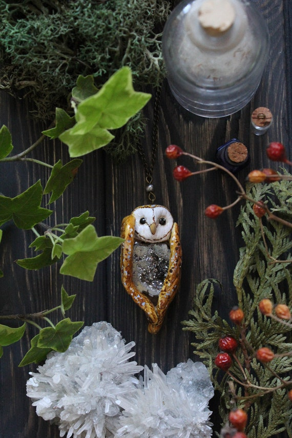 Barn Owl with Crystal Necklace, Barn Owl Charm, Witch Mystic Owl Jewelry, Owl Totem Necklace, Magic Owl Pendant, Fantasy Ghost Owl Necklace