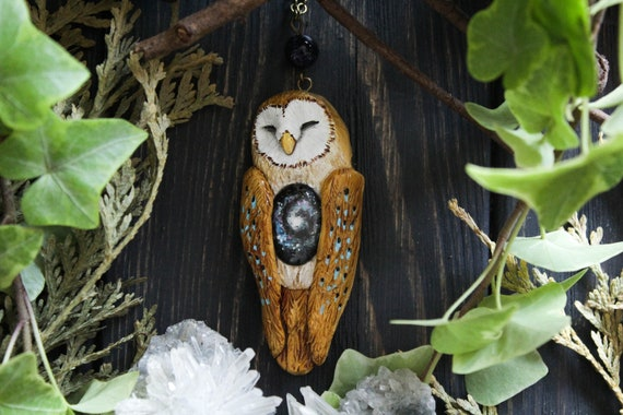 Owl Galaxy Necklace, Barn Owl Starry Sky Charm, Witchy Owl Jewelry, Pagan Owl Jewellery, Fairy Owl Miniature
