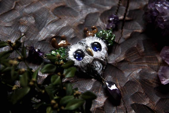 Horned Owl Necklace, Starry Eyed Owl Pendant, Owl  with Amethyst Necklace, Bird Jewelry, Pagan Owl Jewelry, Owl Witch Charm, Totem Owl Charm