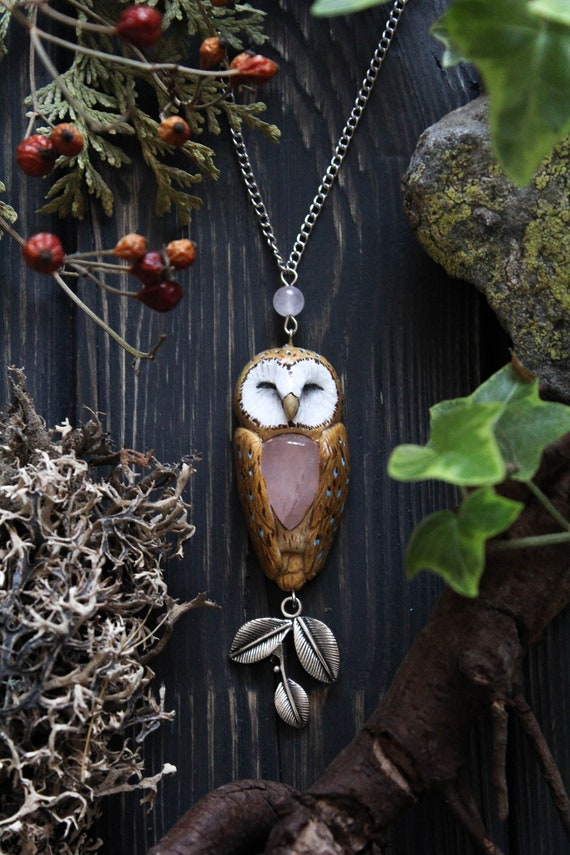 Barn Owl with Rose Quartz Necklace, Barn Owl Charm, Witch Mystic Owl Necklace, Owl Totem Necklace, Magic Owl Pendant, Fantasy Owl Necklace