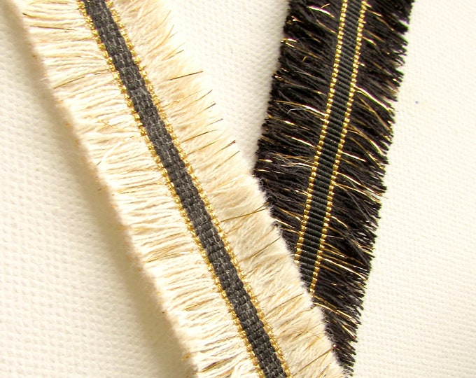 1 yard Double edge fringe trim, Double sided tassel trimming cream or black with gold metallic tinsel, Cotton fringe lace by the yard