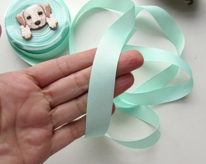 5 yds Pastel teal solid grosgrain ribbon 18 mm Turquoise grosgrain ribbon plain no print  Aqua green ribbon 5 yards