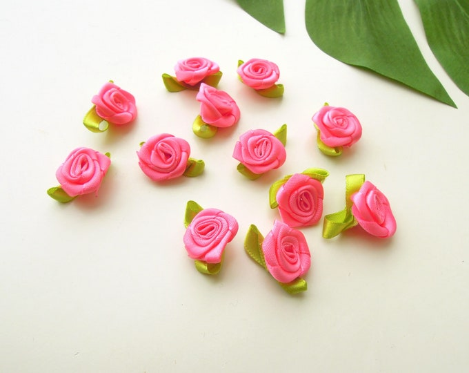 10 Pink satin ribbon roses 2 cm, Fabric flower appliques small roses, Sew-on ruffled flowers, Embroidery roses, DIY Accessories, Crazy quilt
