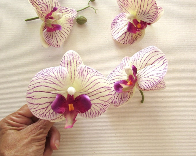 Set Of 4 Artificial Phalaenopsis Orchids with short stem, Real Touch Fake Orchid blooms for Flower Garlands, Millinery and Hair Accessories