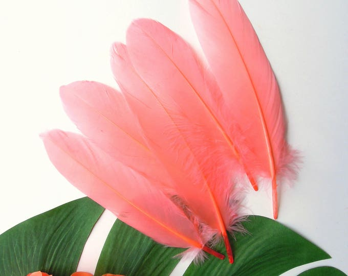 10 Coral colour real feathers   Salmon orange feathers for crafts  Loose coral color feathers  Dyed millinery feathers 10 pcs