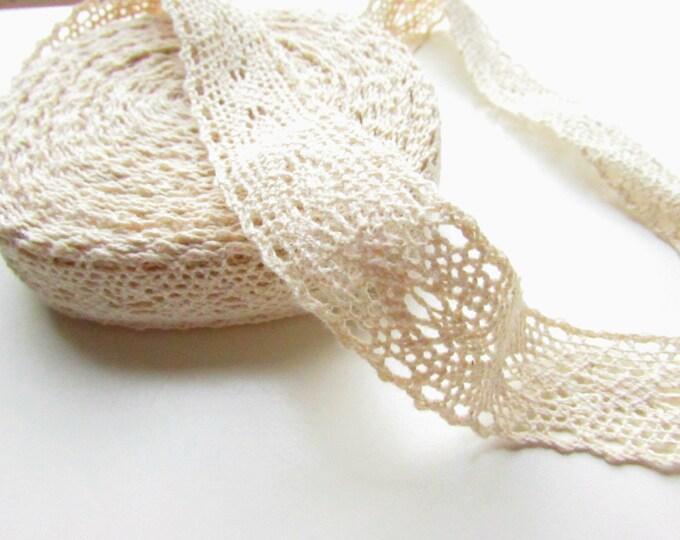 5 yds Cream lace cotton ribbon 22 mm wide, Cotton lace trim for shabby crafts  Vintage style lace trim  Cream lace ribbon  2.2 cm