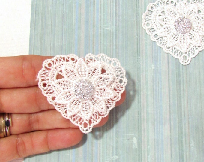 3 White heart appliques, Druzy fabric hearts, Heart lace embellishments for Shabby chic, Wedding favors, Christmas crafts, Junk journals