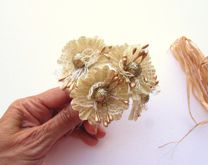 6 Small gold flowers  Artificial gold flowers  Small gold faux flowers  Small gold flowers with golden pips  Gold millinery flowers